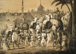 Principale rue de Lucknow.  Capitale du Royaume d'Aoude.  [Janvier 1842.    Lucknow noblemen on elephants passing the Hussainabad Imambara.]